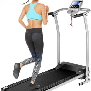 Mauccau Folding Electric Treadmill Exercise Machine with LCD Display Fitness Trainer Walking Running Machine for Home Gym