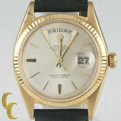 rolex oyster perpetual day date 1960s president 18k gold w leather band 1803 Aysim