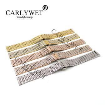 CARLYWET 18 19 20 22mm Stainless Steel Replacement Wrist Watch Band Bracelet...