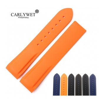 CARLYWET 20 22mm High Quality Rubber Silicone Replacement Wrist Watch Band Strap...
