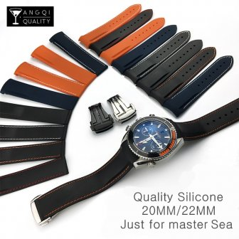 Curved End 20mm 22mm 19mm 21mm Rubber Silicone Watch Bands For Omega...