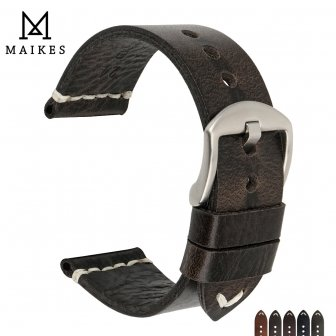 MAIKES Quality Watch Accessories Genuine Oil Wax Leather Watch Strap 20mm 22mm...