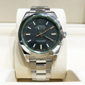 Rolex 116400V Milgauss Stainless Steel Watch Black Dial With Green Crystal