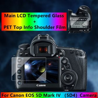 Self-adhesive eos 5D4 Tempered Glass Main LCD + Top Info Shoulder Screen...